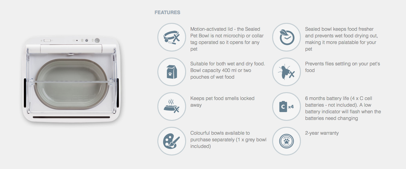 features of sureflap sealed pet bowl